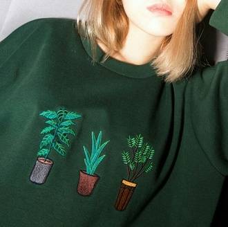 sweater grunge hipster plants green sweater