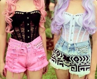 shorts colored jeans cute shorts fashion style festival indie hipster high waisted shorts soft grunge kawaii