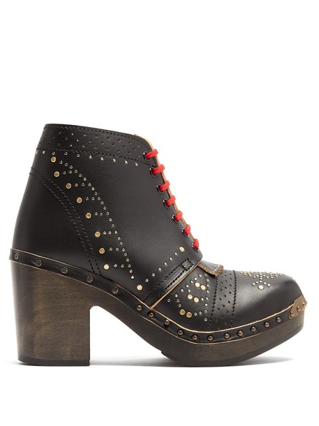 Burberry leather ankle boots studded ankle boots lace leather gold black shoes