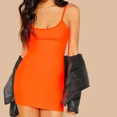 dress,girly,girl,girly wishlist,orange,orange dress,neon,bodycon dress,bodycon,mini dress,mini