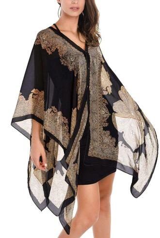 top black gold paisley flowy poncho brown chiffon button up wanelo