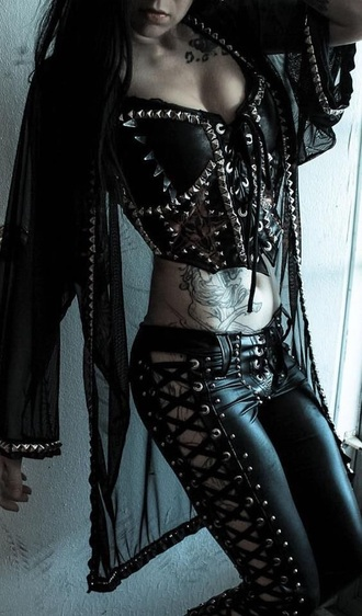 pants goth leather corset spikes studs corseted lace up black black leather grunge gothic grunge black top
