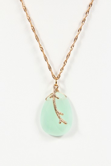 LoveMelrose.com From Harry & Molly   Nature Drop Necklace - Green