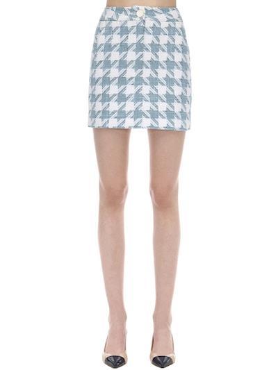 ROWEN ROSE Exclusive Houndstooth Tweed Mini Skirt Light Blue