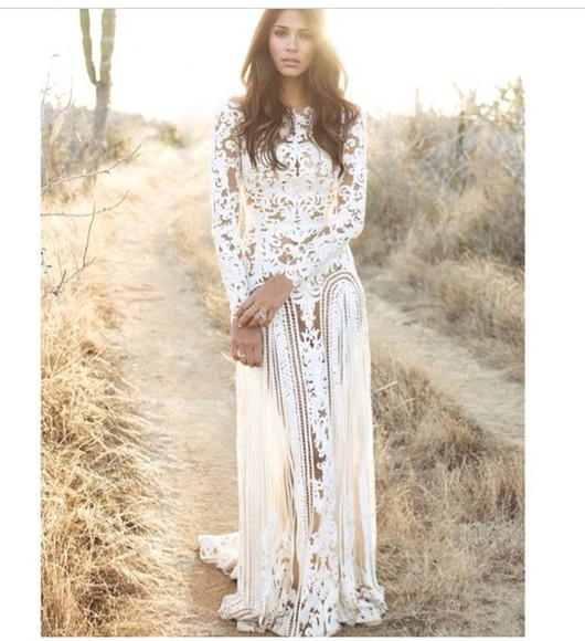 dress white dress lace dress lace wedding dresses hippie boho lace