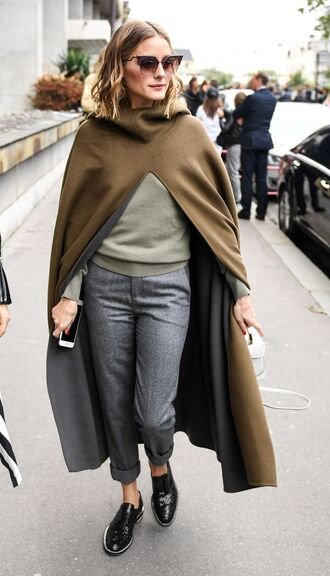 pants sweater coat paris fashion week 2017 streetstyle blogger olivia palermo fall outfits sunglasses