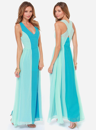 dress bqueen fashion ustrendy chic long dress girl lady sexy party evening dress blue cross backless chiffon v neck