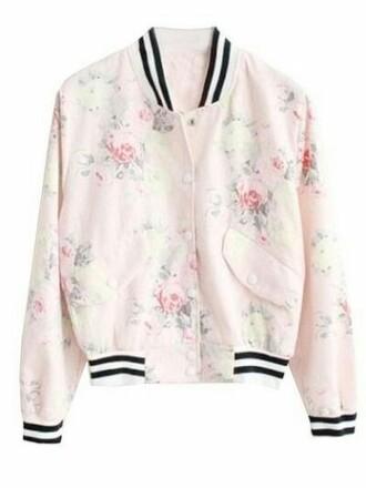 jacket bomber jacket cotton floral pastel pink