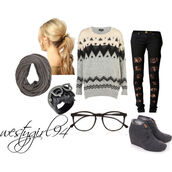 shoes,grey,wedge heels,knitted sweater,scarf,ripped jeans,winter outfits,sweater,jewels,jeans