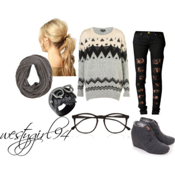 shoes grey wedge heels knitted sweater scarf ripped jeans winter outfits sweater jewels jeans