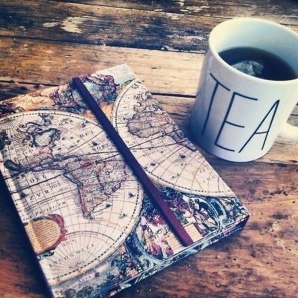 mug bag notebook vintage travel jewels