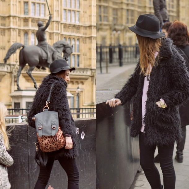 laughing in the purple rain blogger fuzzy coat black coat coat sweater shoes jeans hat