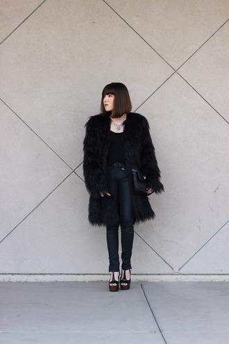 platforms for breakfast blogger all black everything fuzzy coat black coat coat top pants jewels shoes bag