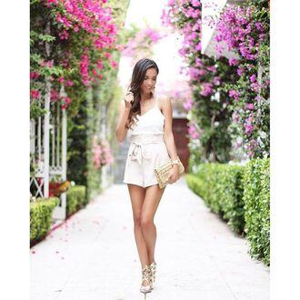 romper white and beige white and tan tan white beige blogger summer summer outfits spaghetti strap escloset