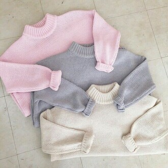 sweater jumper pale ribbed sweater