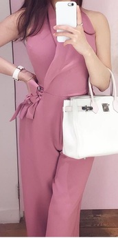 jumpsuit,heavy fabric,deep blush pink
