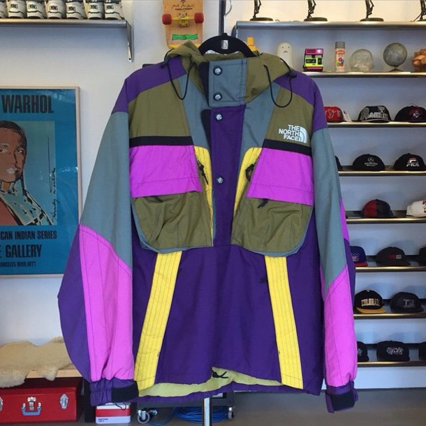 jacket colorblock north face windbreaker
