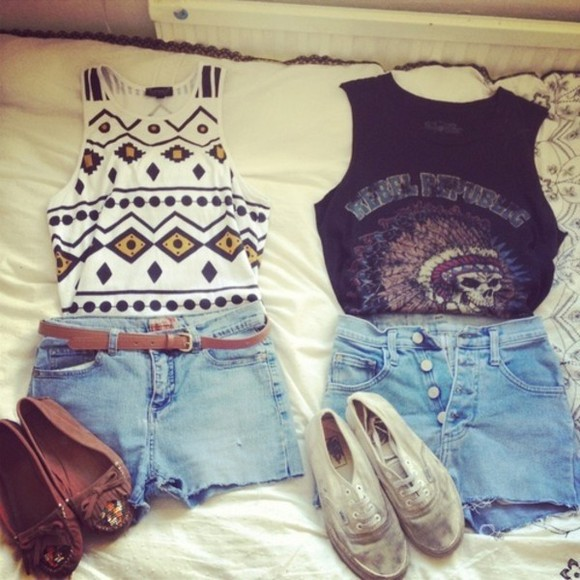 cute tank top blue shorts shirt high waisted short aztec indian mocassins white vans t-shirt summer outfits skull