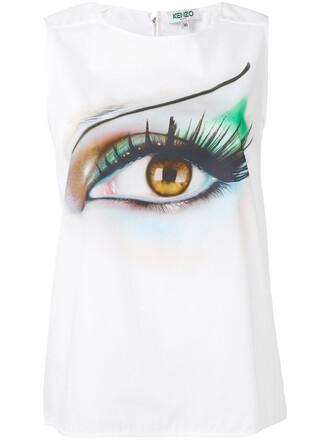 tank top top women white cotton print