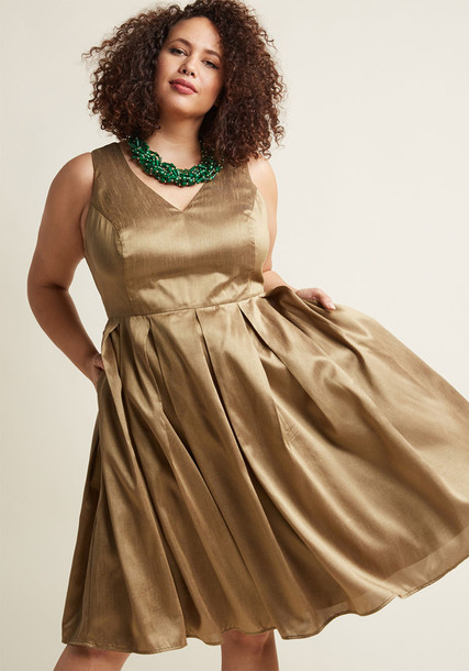 Modcloth dress midi dress pleated fancy midi gold
