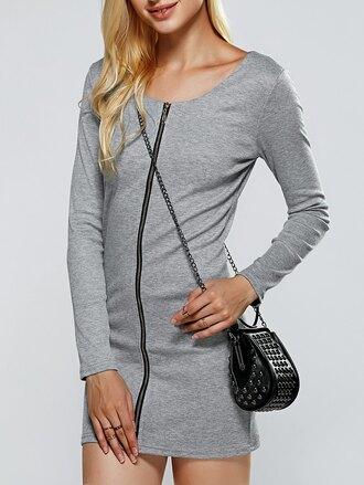 dress grey grey dress long sleeves long sleeve dress zip zipped dress bodycon bodycon dress