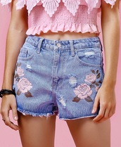 shorts,denim,summer,cute,jeans,fashion,style,girly,trendy,spring,zaful,denim shorts,embroidered,floral,rose,roses,flowers,dressfo