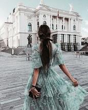 dress,midi dress,maxi dress,long dress,green,light green,blue,ruffle,ruffle dress,summer,summer dress,summer outfits,spring,spring outfits,spring dress,short sleeve dress,short sleeve