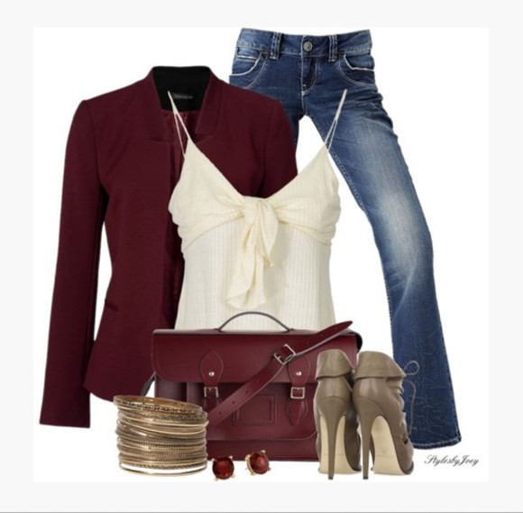 clothes cream top blouse tank top top spaghetti strap knot knot bust cream tank top blazer burgundy burgundy blazer jeans high heels bag purse outfit