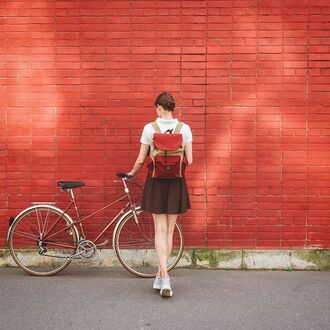 bag back to school bike cycle love street marsala backpack style school bag school girl trendy bright