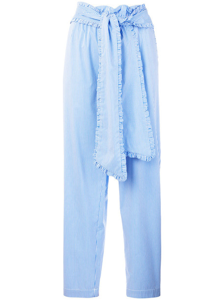 MSGM women spandex cotton blue pants