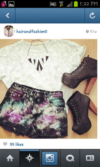 shorts galaxy shorts lace shirt black&white necklace