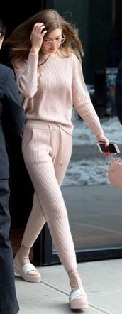 pants,light pink,gigi hadid,pink,knit