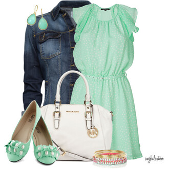 shoes mint bangle polka dot bag earrings jacket dress