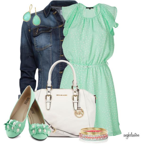 shoes mint bracelets polka dots bag earrings jacket dress