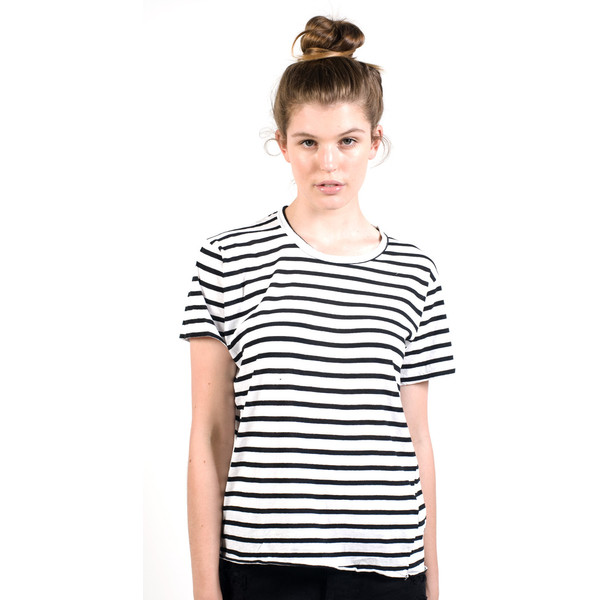 Bassike Womens Stripe Heritage Crew Neck T Shirt - Black & W... - Polyvore