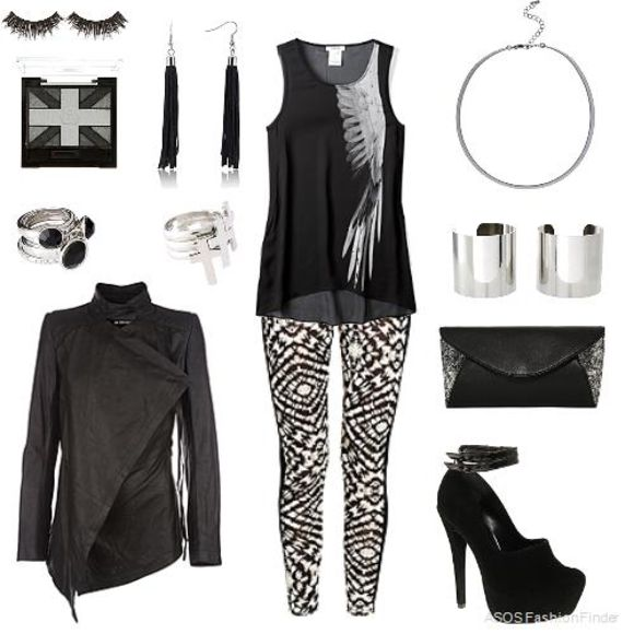 jacket bag black leather leather jacket black leather jacket shoes black jacket asymmetrical jacket fitted jacket ring earrings top blouse black top sleeveless top sheer pattern design leggings pattern leggings bracelets cuffs silver cuff bracelets clutch high heels black heels ankle strap heels