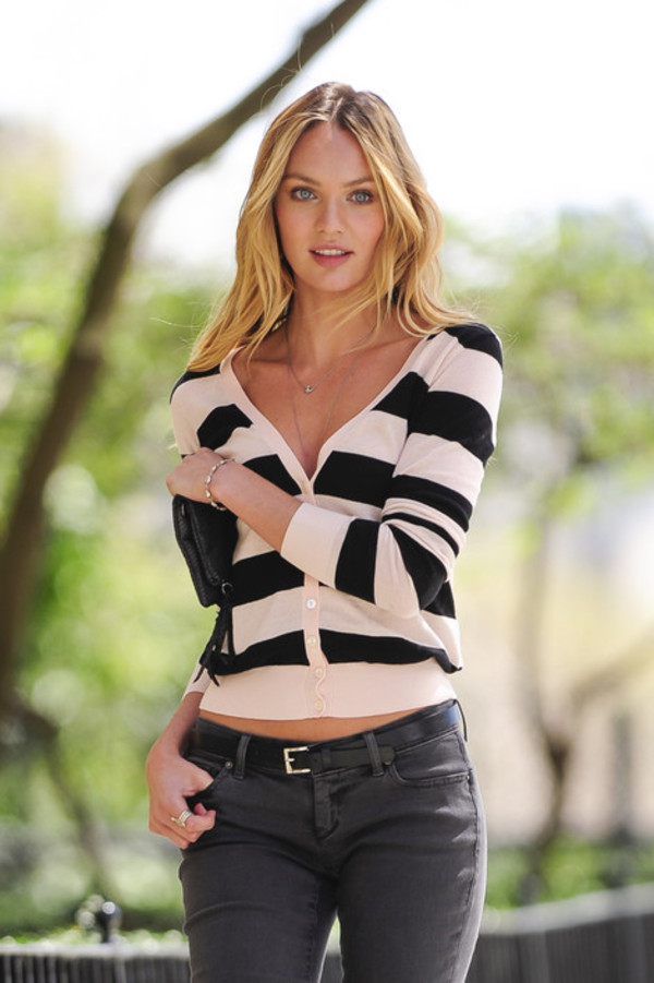 sweater, candice swanepoel, victoria's secret, stripes ...