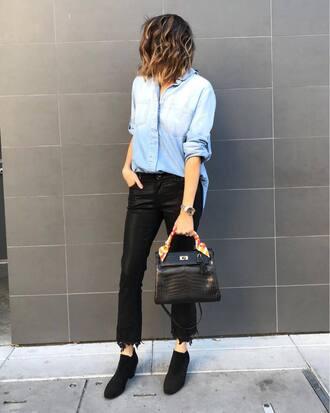 pants leather pants blue shirt tumblr black pants shirt denim denim shirt shoes boots ankle boots black boots bag