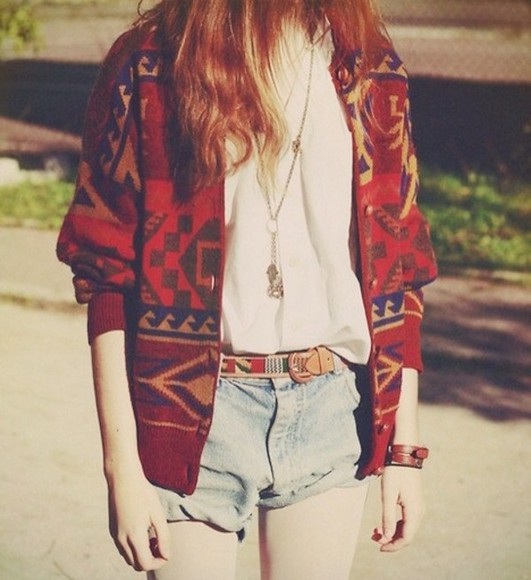 red t-shirt coat tribal pattern aztec aztec print cardigan oversized cardigan oversized cute pretty comfy cozy comfortable white blue shirt demin demin shorts belt necklace