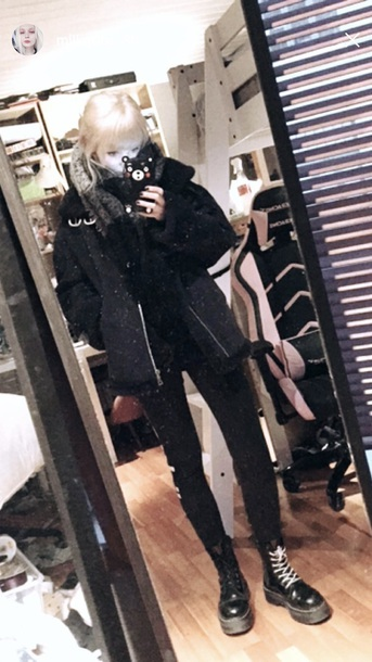 jacket black winter outfits fur