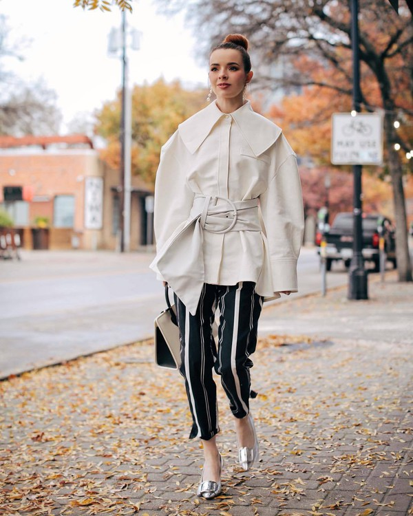 pants striped pants silver pumps white coat bag
