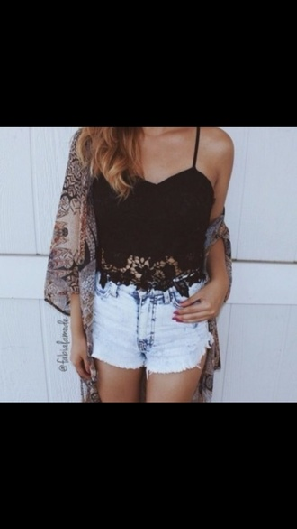 top black crop top crop tops shorts cardigan lace top lace crop top ombre bleach dye blouse