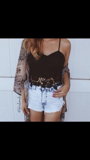 top black crop top crop tops shorts cardigan lace top lace crop top ombre bleach dye blouse