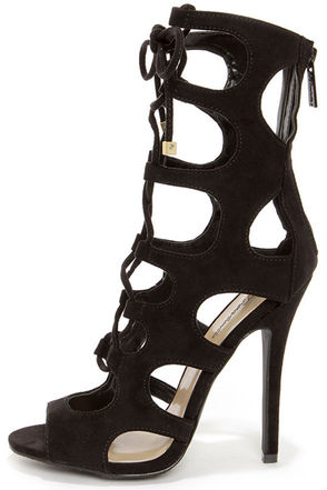 Roma 31 Black Cutout Lace-Up Booties