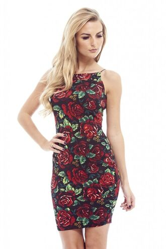 rose mini bodycon dress