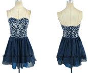 dark navy prom dress,short prom dress,beads prom dress,dark navy formal dress,short formal dress,cocktail dress,dark navy homecoming dress