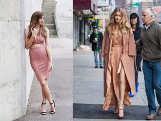 fashion agony blogger gigi hadid pink coat pink skirt pencil skirt crop tops pink top black heels nude heels