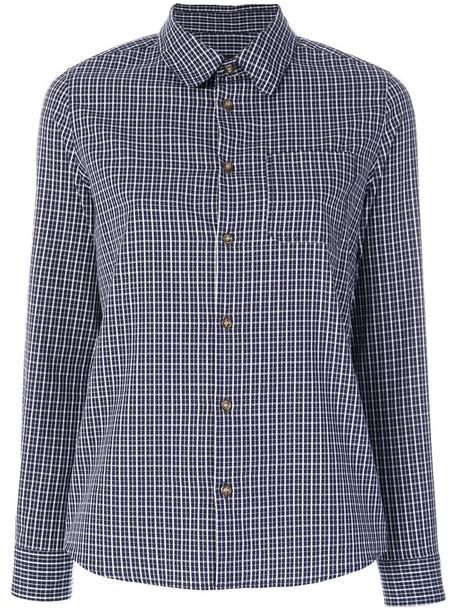A.P.C. shirt checked shirt style women cotton blue tartan top