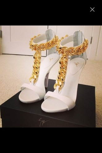 shoes heels high heels chain chain heels gold gold heels white white heels gold chain heels party outfit
