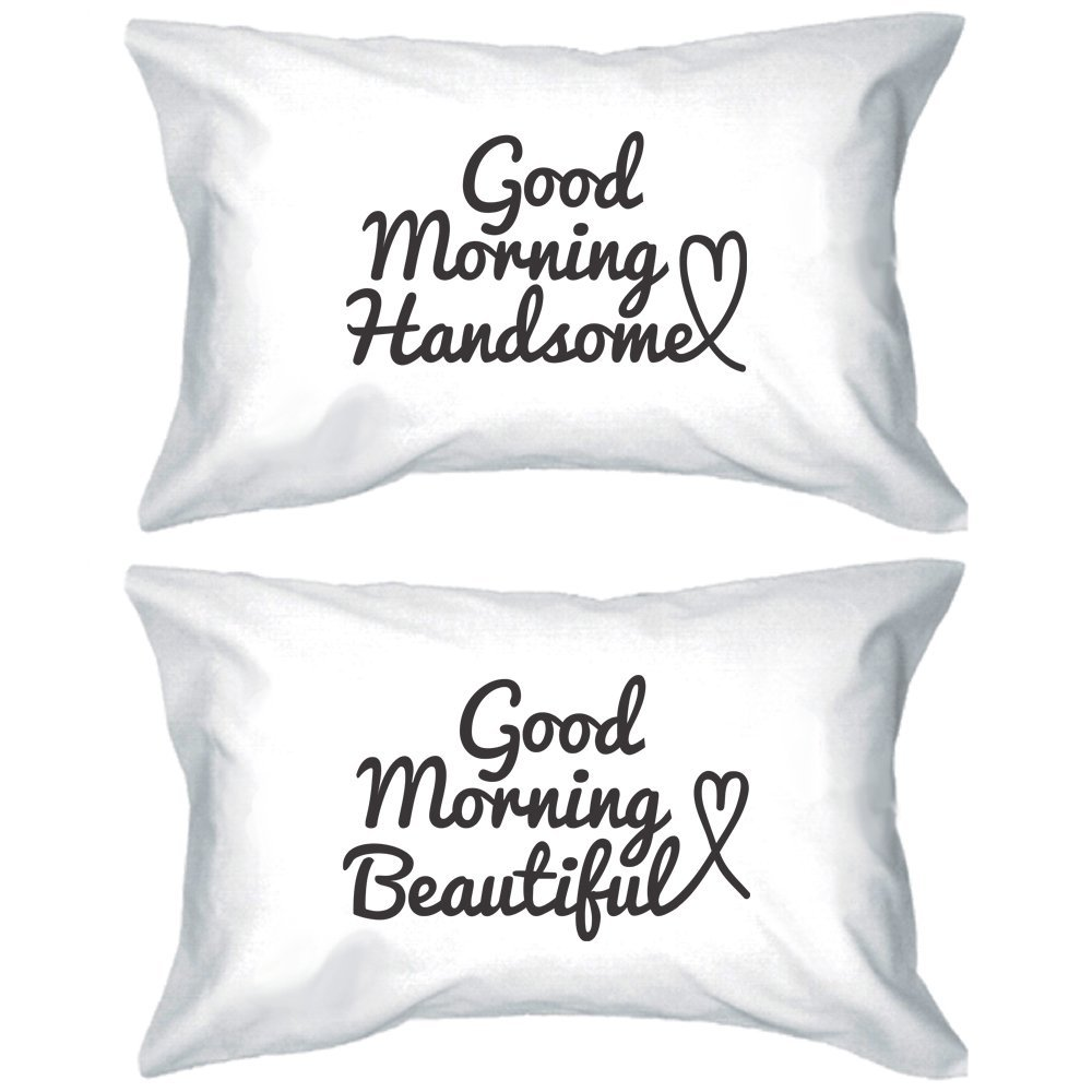 Amazon.com - His and Hers Matching Pillowcases 220-Thread-Count - Good Morning Handsome and Beautiful Pillow Covers for Couples -